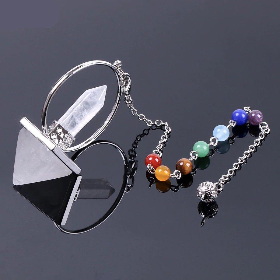 Reiki pendel witte kristal natuursteen met 7 chakra healing stenen