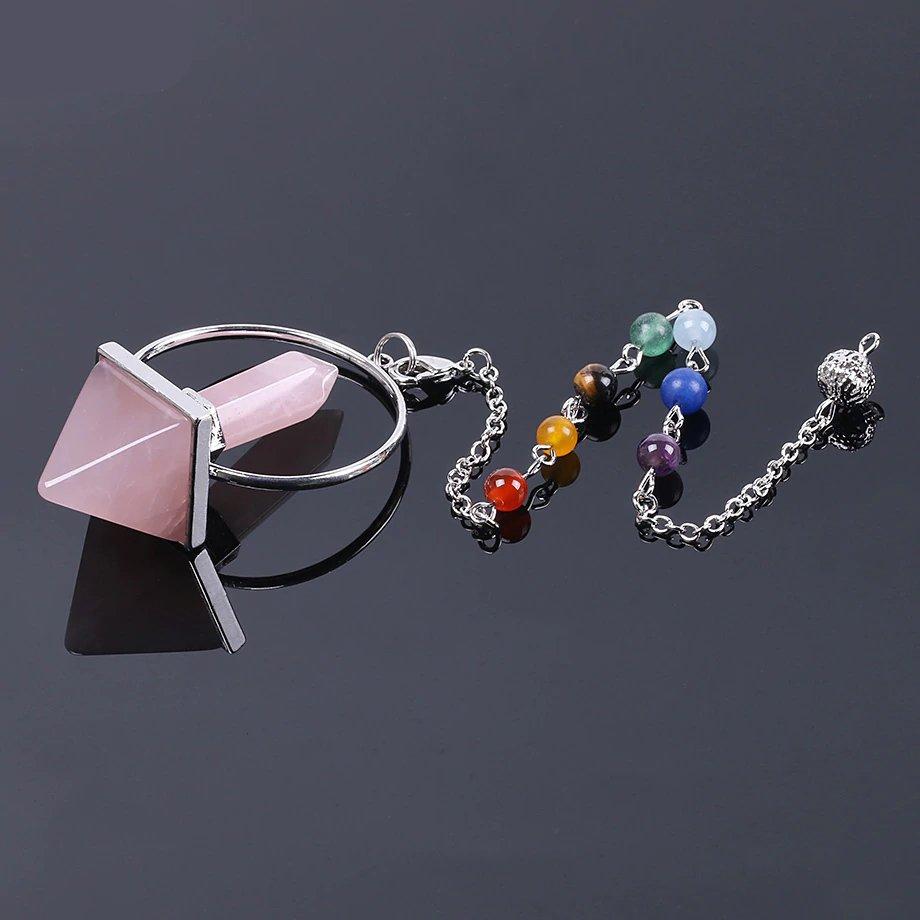 Reiki pendel rozenkrans natuursteen met 7 chakra healing stenen
