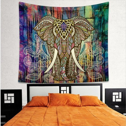 Mandala wanddeken olifant verschillende kleuren