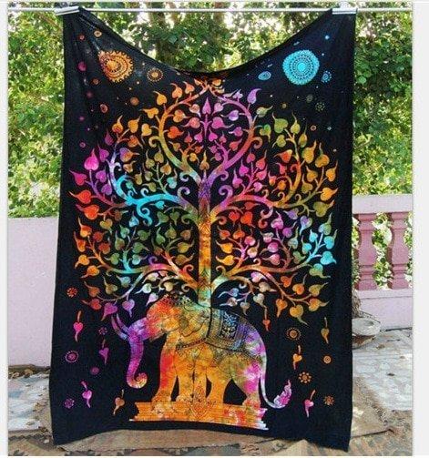 Mandala wanddeken olifant felle kleuren