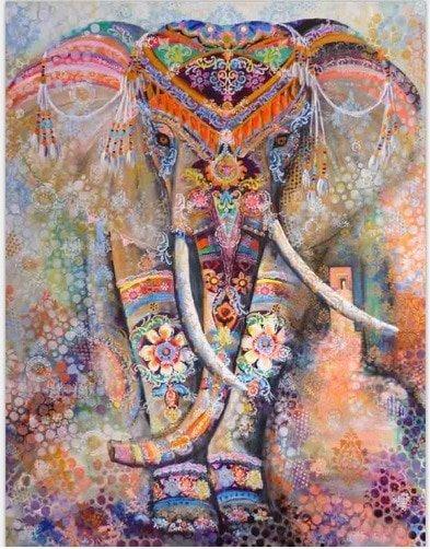 Mandala wanddeken olifant groot rode kleuren
