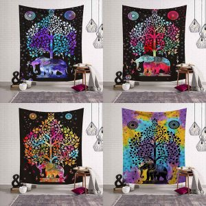Wandkleed mandala olifant onder tree of life