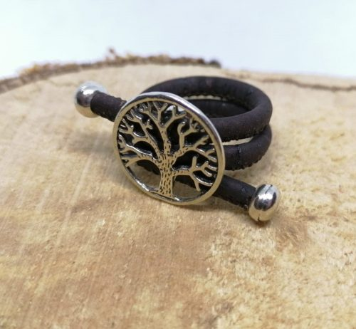 Vegan ring tree of life donker bruin kurk