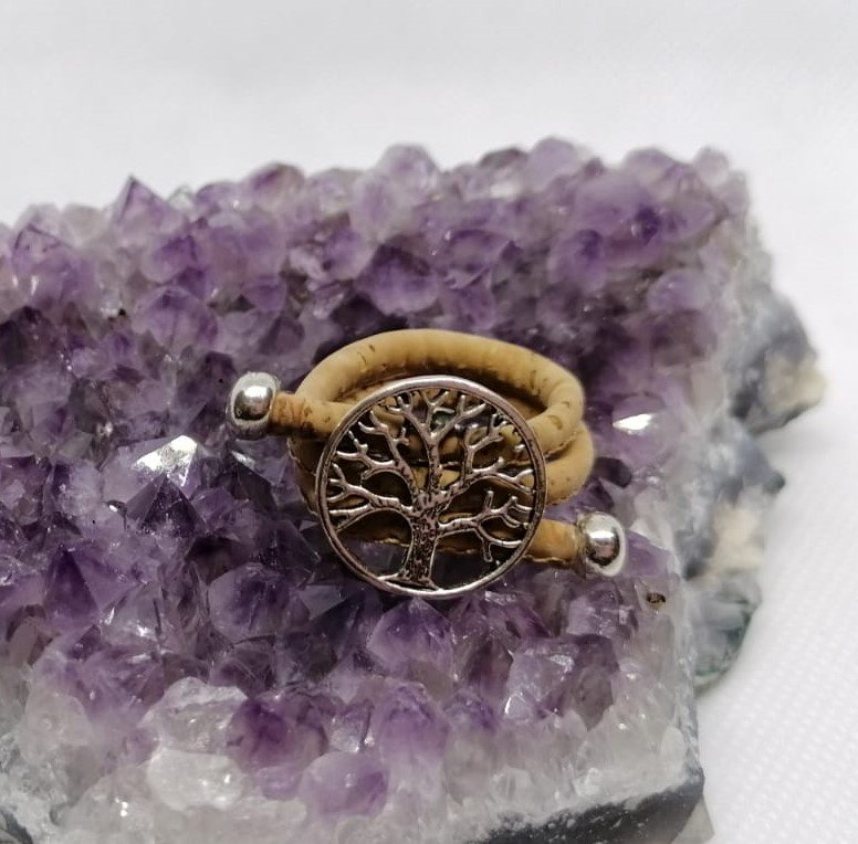 Vegan ring tree of life licht bruin kurk