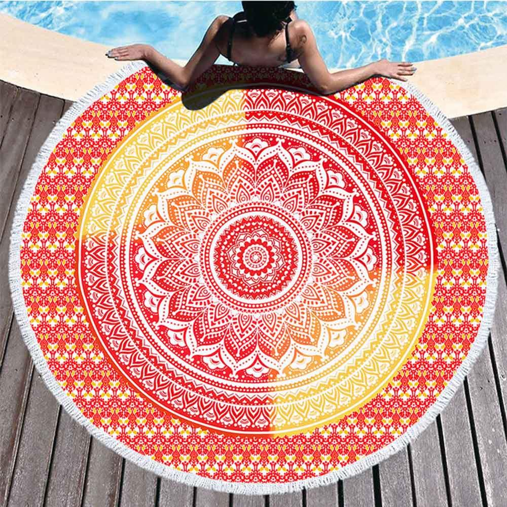 Mandala strandlaken Rood geel bij zwembad