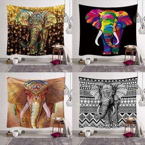 Mandala wandtapijt met olifant print diverse stylen