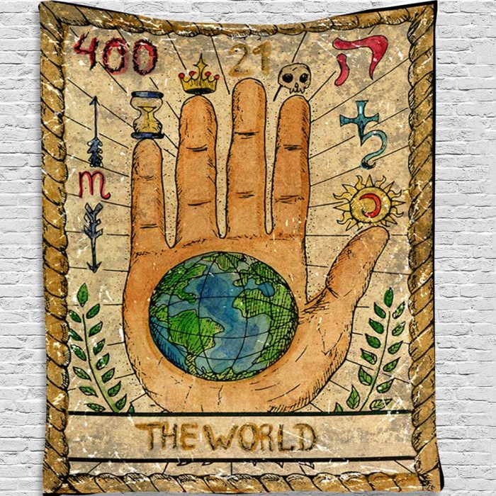Tarot 400 M 21 The World Wandkleed, wandtapijt, wand decoratie