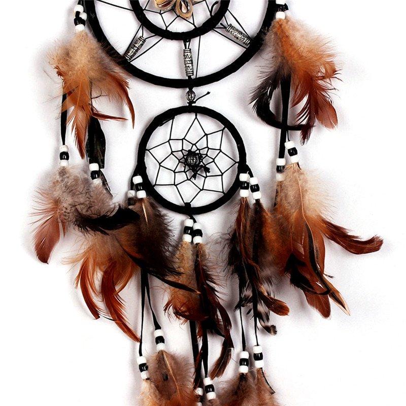 Bruine dreamcatcher - dromenvanger Groot Closup ring